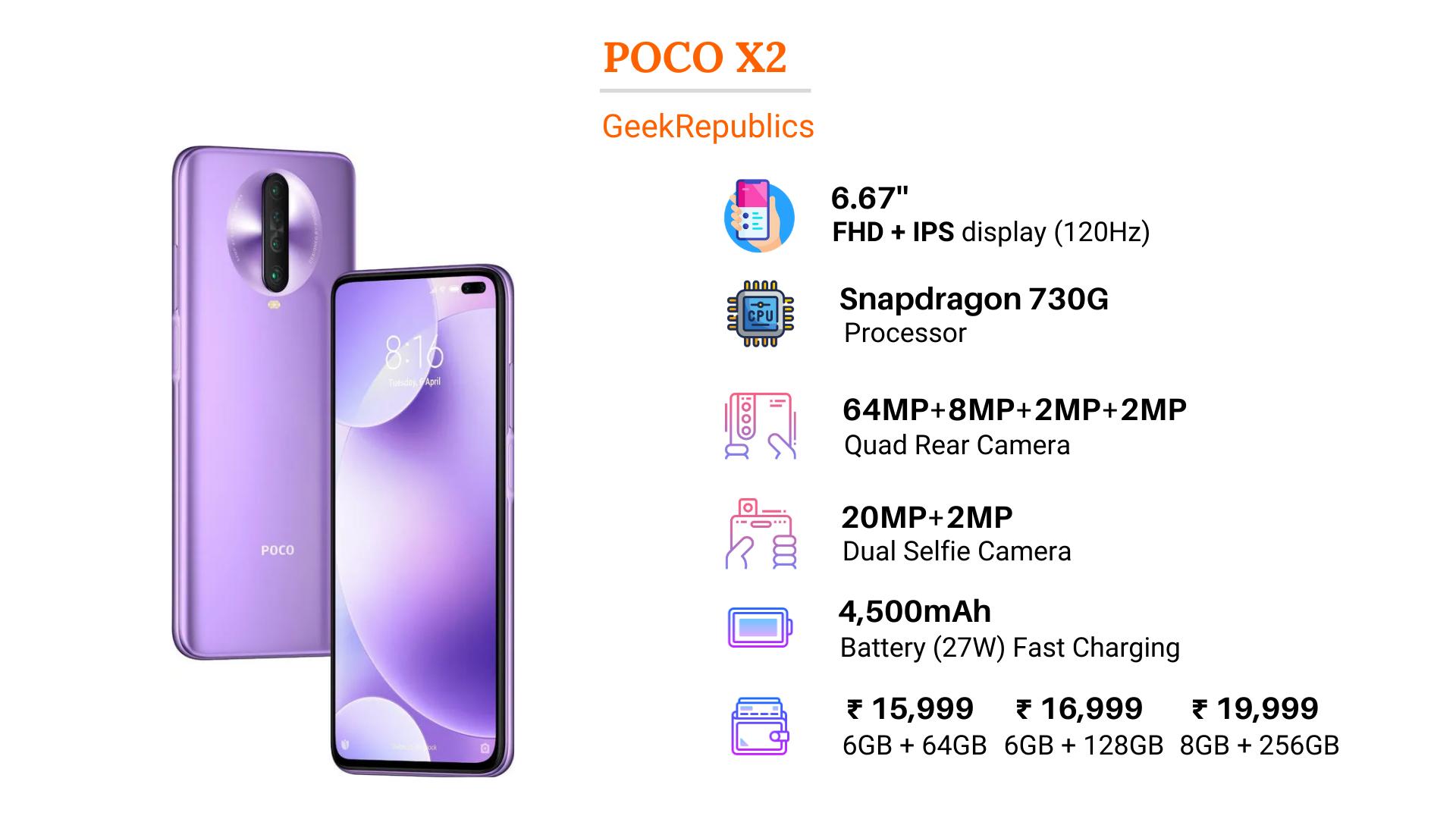POCO X2 Price in India Specs