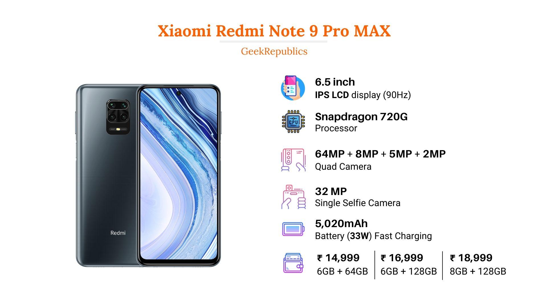 Xiaomi Redmi Note 9 Pro MAX Price in India