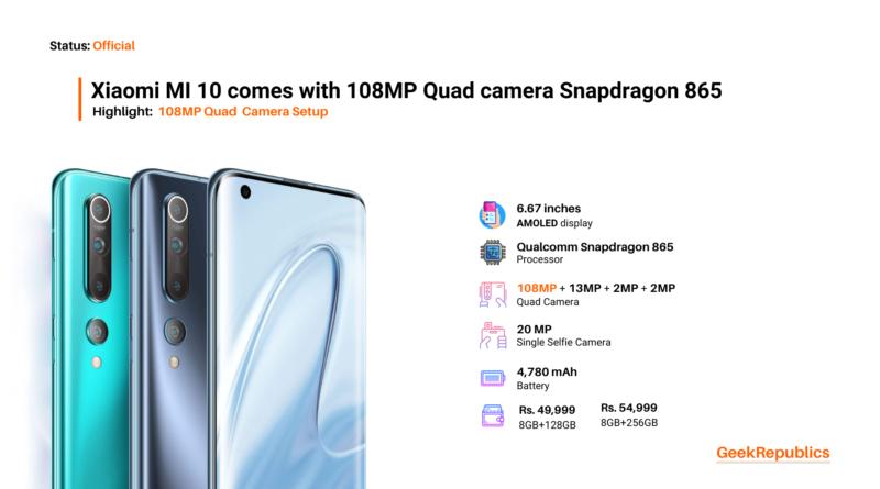 Xiaomi Mi 10 Price in India